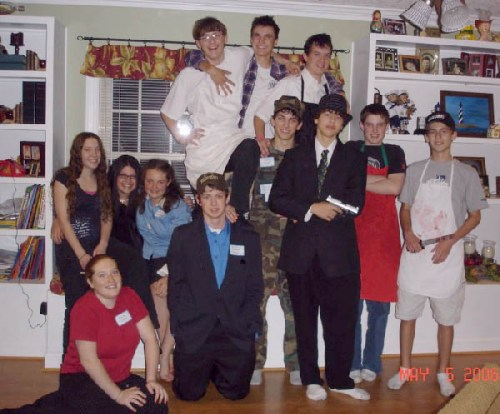 A group photo from Thomas and Sherrices sons Murder Of The Great Chef party