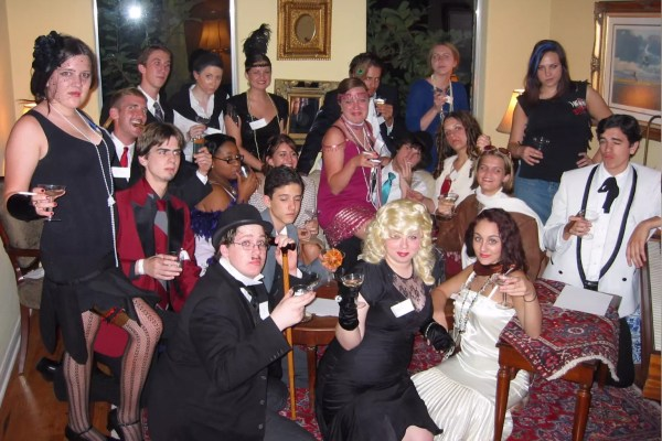 Teens doing Poetic Justice - a 1920s themed mystery party game