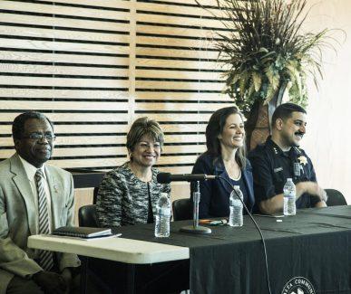 Speakers PCCD Chancellor Jowel Laguerre, Merritt President Norma Ambriz-Galaviz, Mayor Schaaf, and Paul Figueroa, OPD Assistant Chief and Merritt instructor.