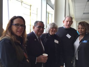 Molly Sealund of Landscape Horticulture, VPSS Arnulfo Cedillo, Trustee Linda Handy, and guests.