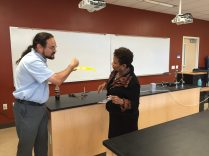 Congresswoman Lee includes the Physics Department on her tour of the building.