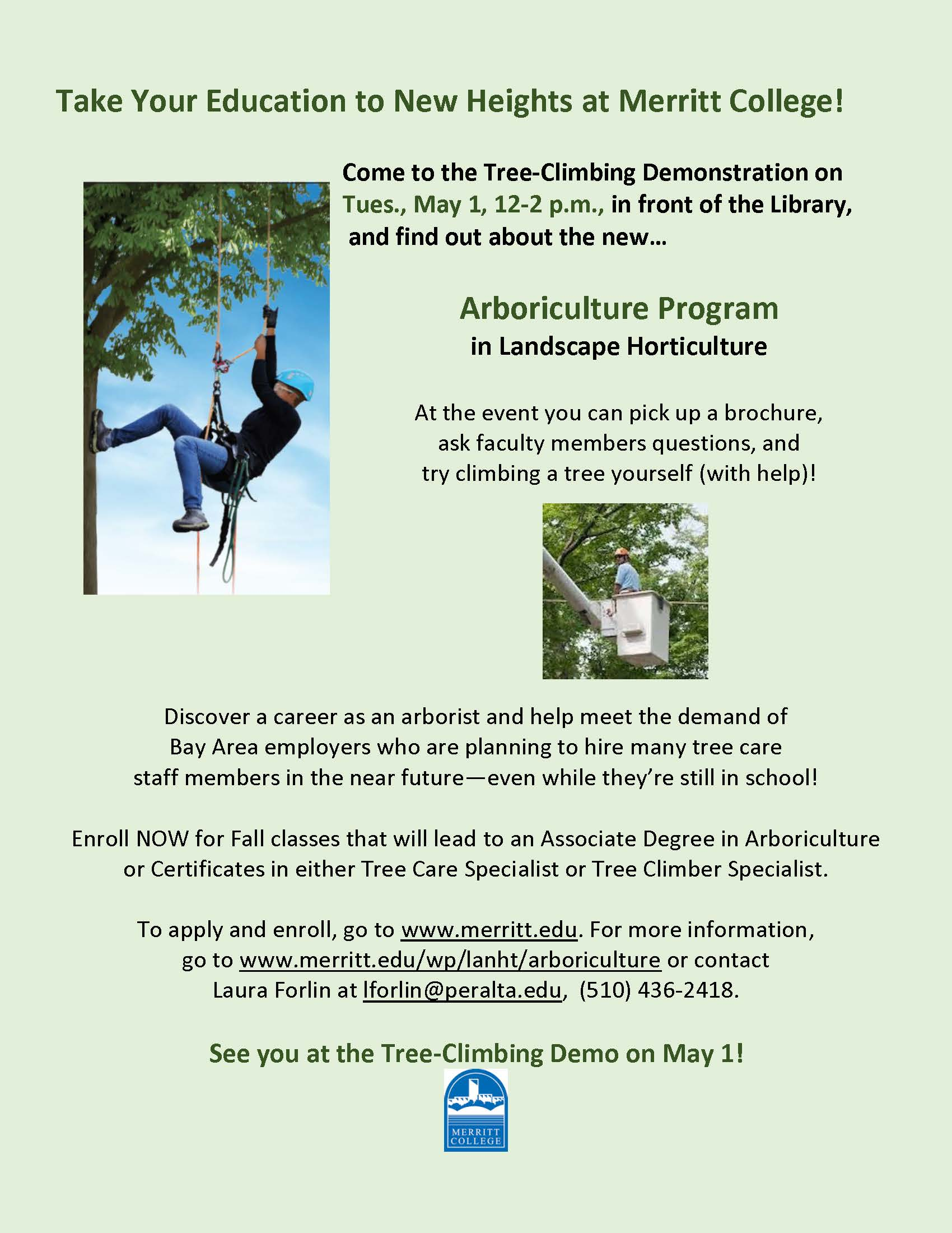 Tree Climbing Demo On Campus 51 To Announce New Arboriculture