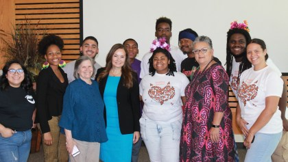 Rosie Rios with trustees and Merritt College students