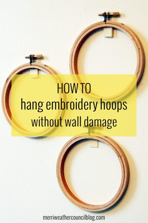 how to hand embroidery hoops without wall damage | the meriweather council blog