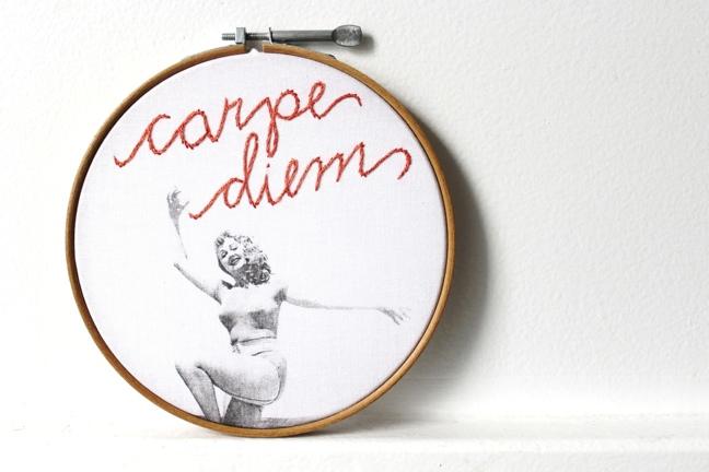 carpe diem vintage embroidery hoop