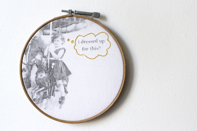 cranky carousel girl vintage embroidery hoop