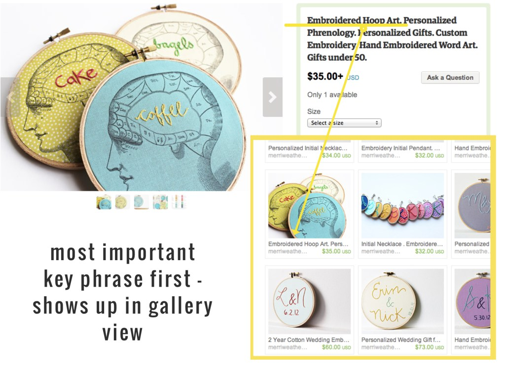 Basic Etsy SEO tips from the merriweather council. Use keywords at the beginning of product titles for best SEO. | the merriweather council blog