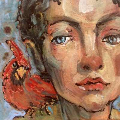 hand painted tile of woman with red bird on her shoulder