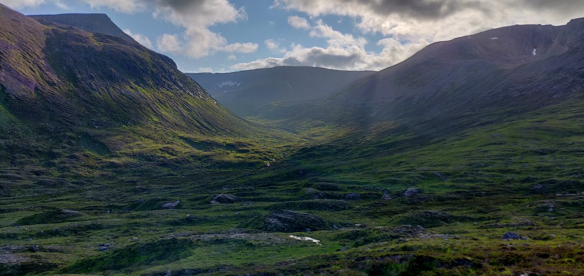 The view up Garbh Corrie in the Cairngorms with Angel's Peak to the left