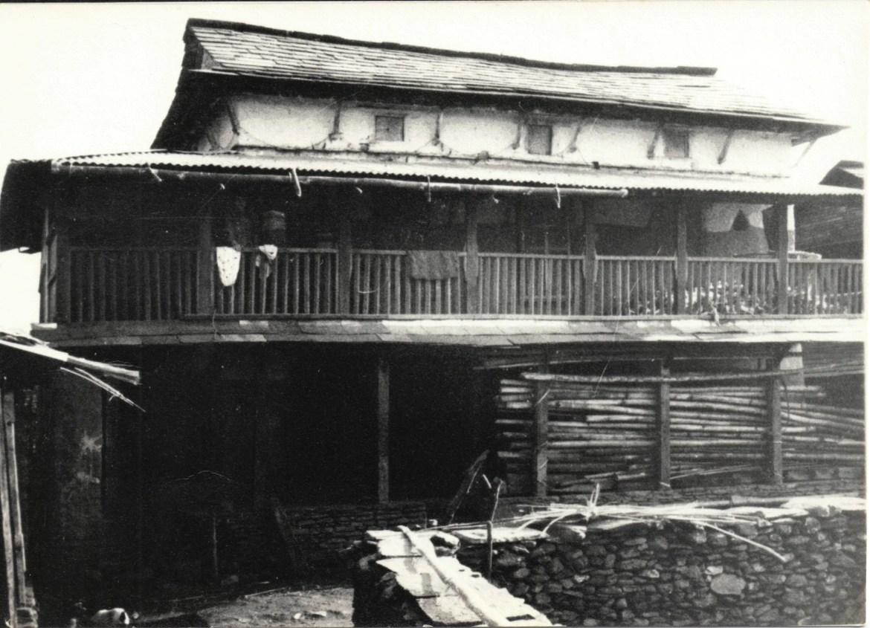 Gurung village house, black & white