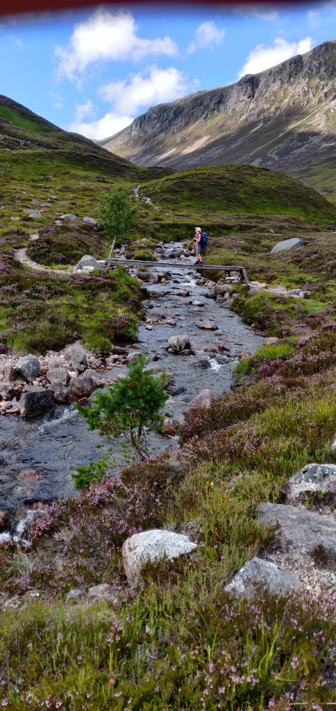 Merryn Glover on bridge over mountain stream, Cairngorms
