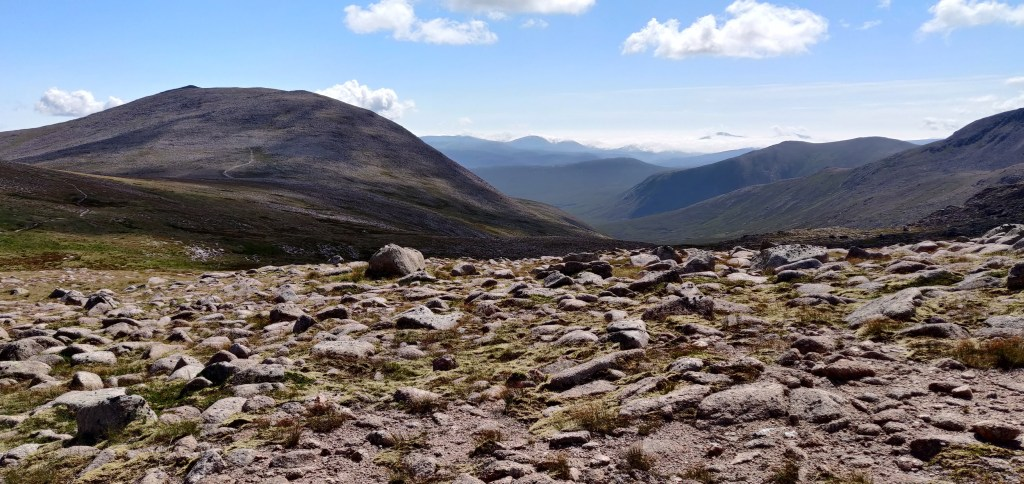 The view south in the Cairngorms with Derry Cairngorm top left
