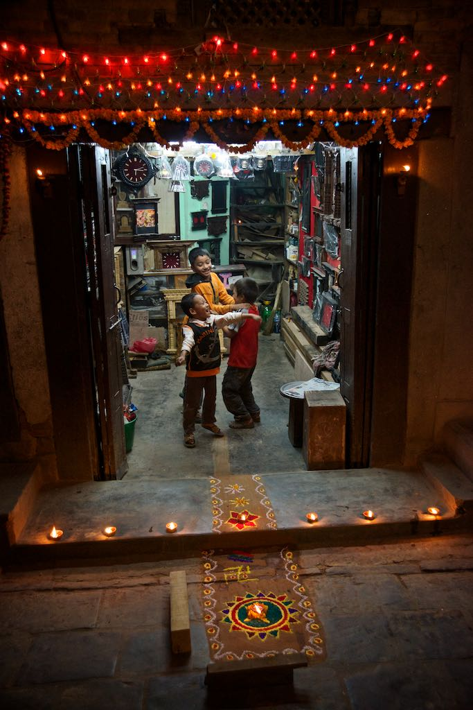 Shop decorated for Laxmi Puja by Rowan Butler