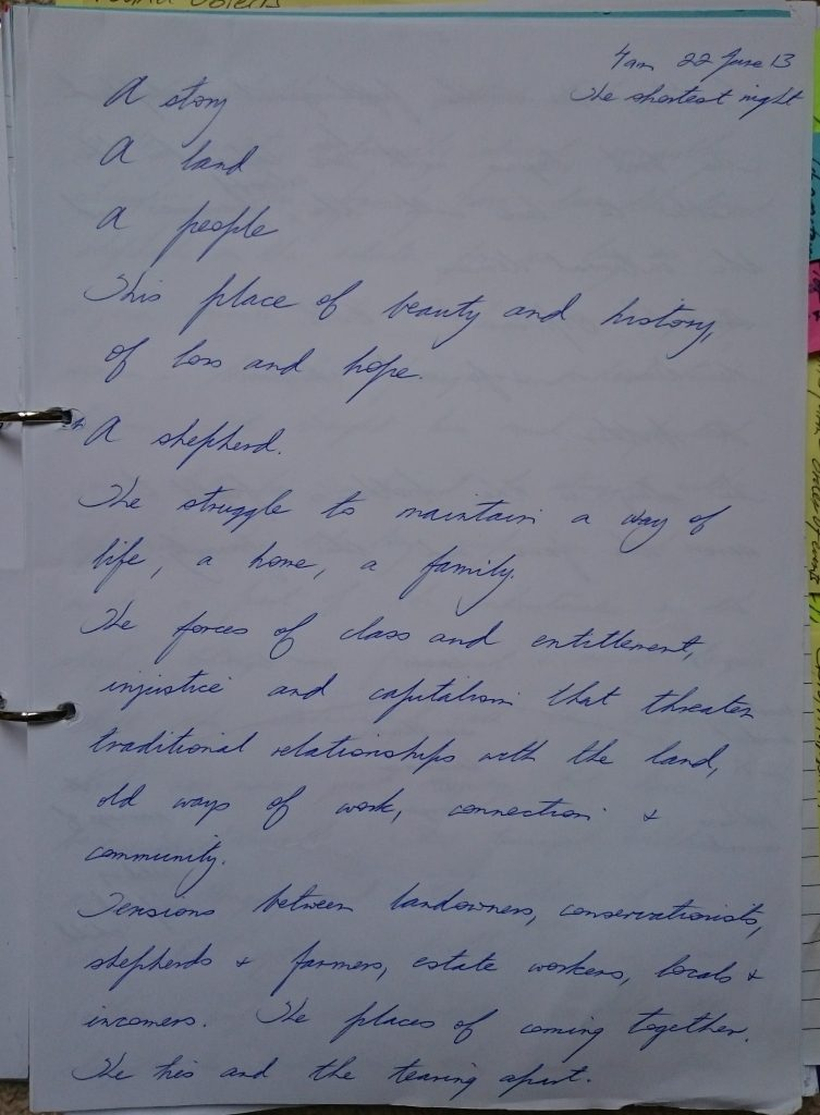 First page of notes for Merryn Glover's novel Of Stone and Sky
