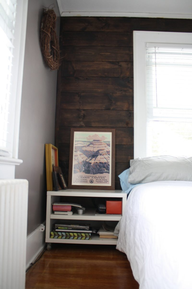 Shiplap Stained Wall And Cb2 Bedside Table Love Merrypad