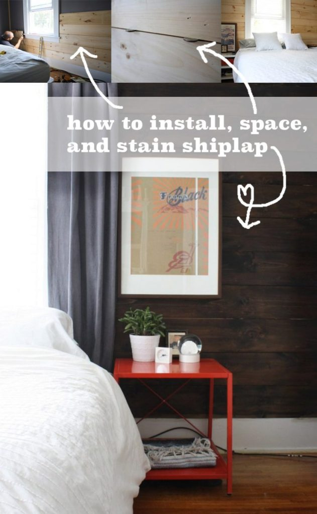 Shiplap stained wall and cb2 bedside table love merrypad - How to install shiplap on interior walls ...