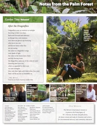 Merwin Conservancy Fall 2016 Newsletter - Cover