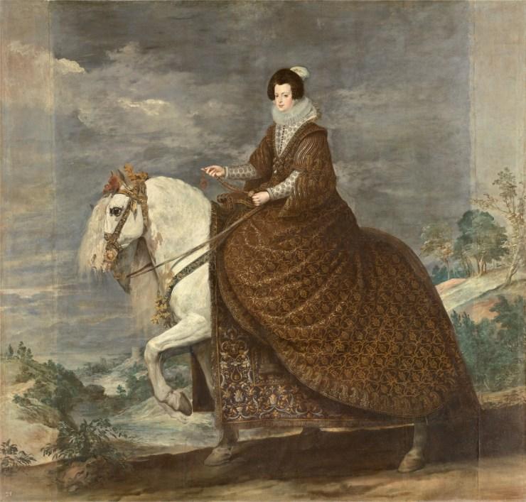 La reina Isabel de Borbón, a caballo Hacia 1635. Óleo sobre lienzo, 301 x 314 cm. Museo del Prado