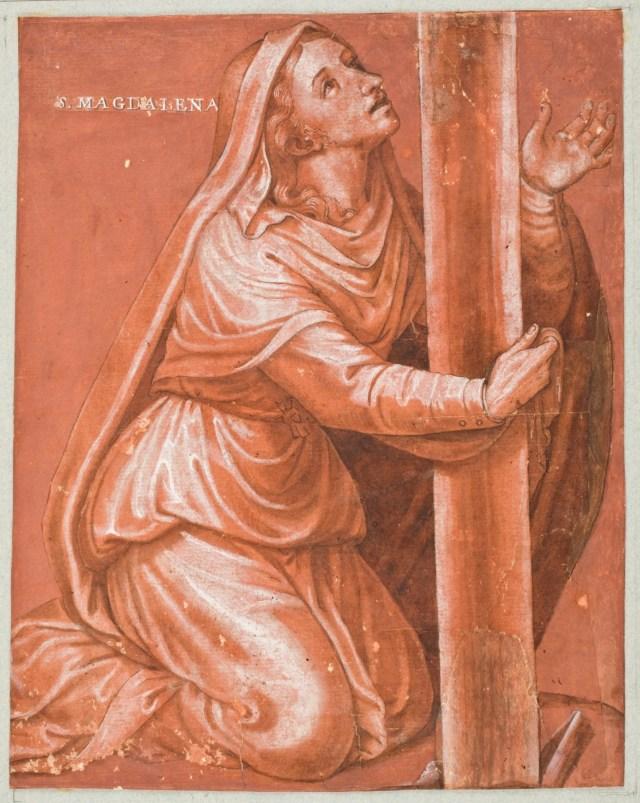 La Magdalena al pie de la Cruz Siglo XVI. Aguada parda, Albayalde, Lápiz negro, Pluma sobre papel pintado rojizo, 220 x 175 mm. Museo del Prado
