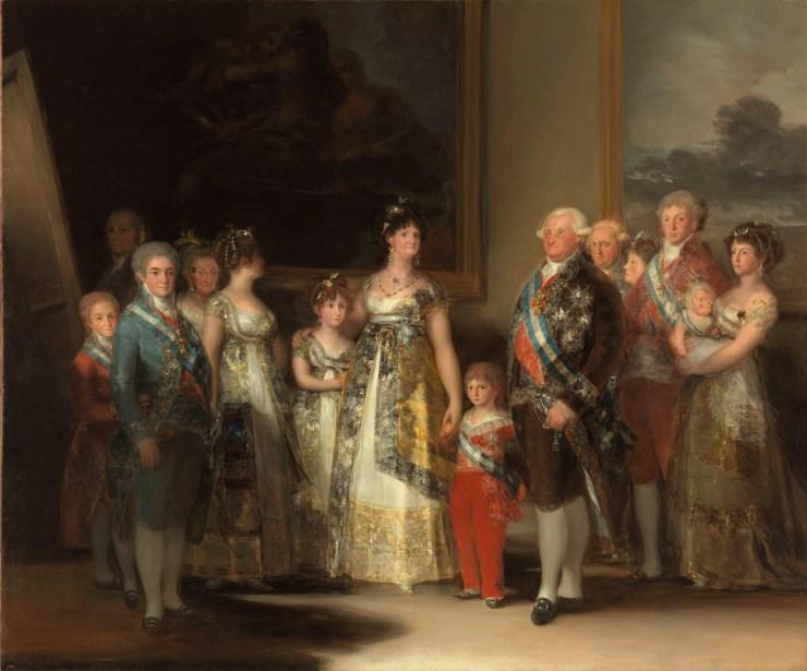 La familia de Carlos IV. Goya 1800. Óleo sobre lienzo, 280 x 336 cm. https://www.museodelprado.es/coleccion/obra-de-arte/la-familia-de-carlos-iv/f47898fc-aa1c-48f6-a779-71759e417e74?searchMeta=la%20familia%20de%20carlos%20iv