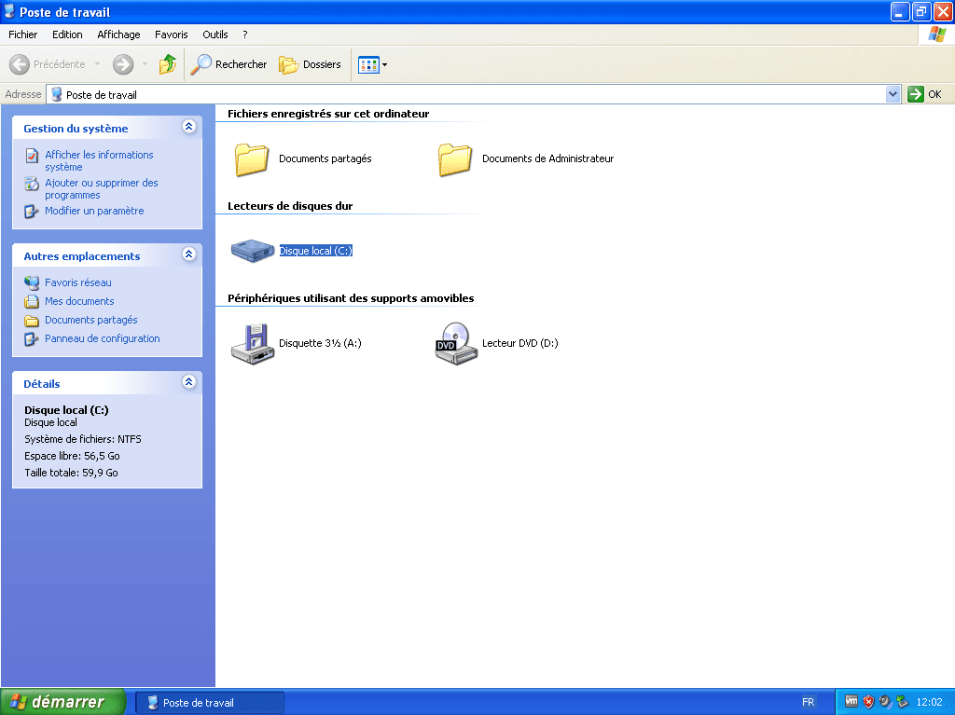 Machine virtuelle - Windows XP Professionnel SP3 - 32Bits