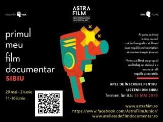 """Astra Film a dat startul înscrierilor la atelierul pentru liceeni """"Primul meu film documentar"""""""