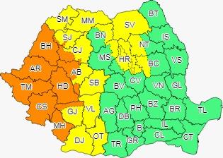 Județul Sibiu, sub cod galben de ploi și inundații. Ce râuri sunt sub avertizare?