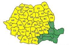Cod galben de ploi torențiale, vijelii și grindină în Sibiu, până duminică