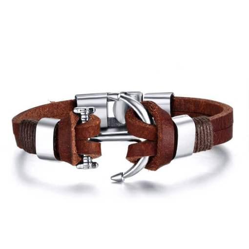 Bracelet Ancre en Cuir Marron presentation fond blanc zoom