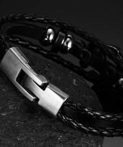 bracelet ancre cuir tresse dos