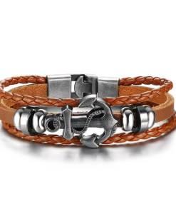 bracelet ancre cuir tresse marron