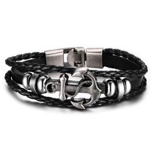 Bracelet Ancre en Cuir Tressé noir