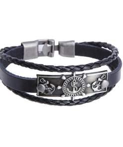Bracelet de charme Ancre et Gouvernail en Cuir Noir face presentation fond blanc