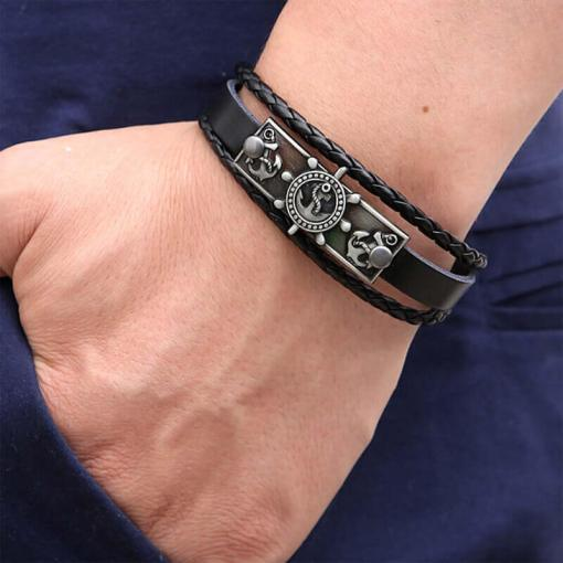 bracelet charme ancre gouvernail en cuir noir