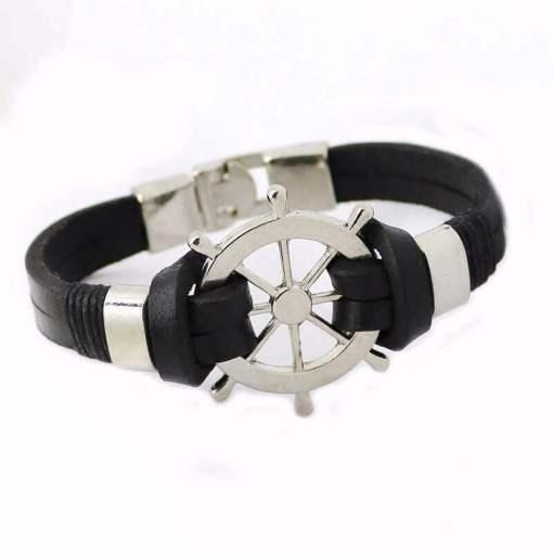 Bracelet en cuir Gouvernail Vintage en cuir noir vue de profil