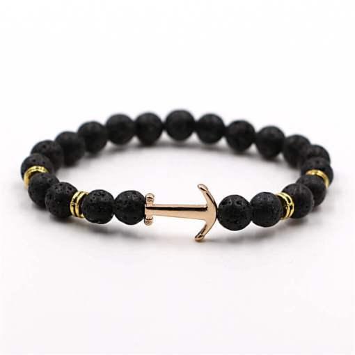 Bracelet d'Ancre doré en pierre naturelle lave