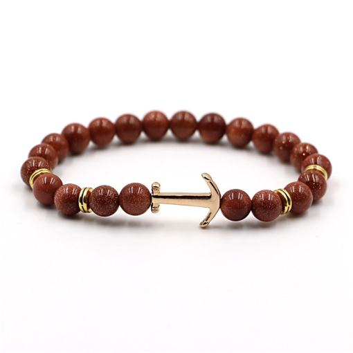 Bracelet d'Ancre doré en pierre naturelle marron