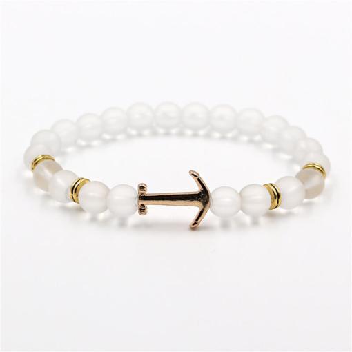 Bracelet d'Ancre doré en pierre naturelle perle