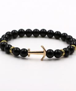 bracelet ancre dore pierre naturelle