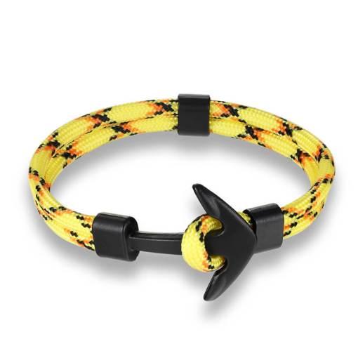 Bracelet en corde tissée motif Ancre marine jaune