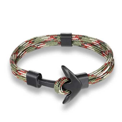 Bracelet en corde tissée motif Ancre marine camouflage