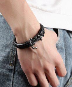 Bracelet en cuir véritable motif Ancre marine