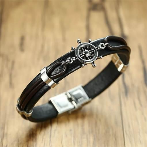Bracelet gouvernail nautique en cuir noir