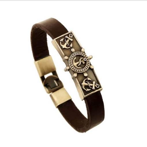 Bracelet vintage Ancre en cuir marron seul