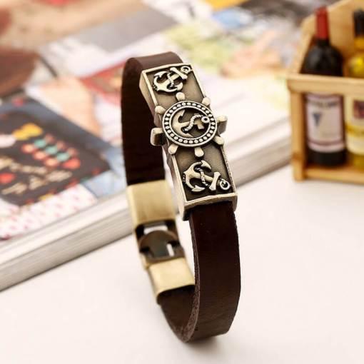 Bracelet vintage Ancre en cuir marron assemble
