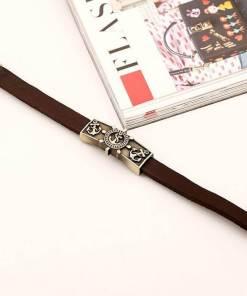 Bracelet vintage Ancre en cuir marron long