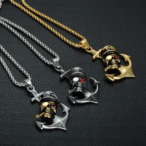 Collier avec pendentif Ancre de Pirate 3 couleurs