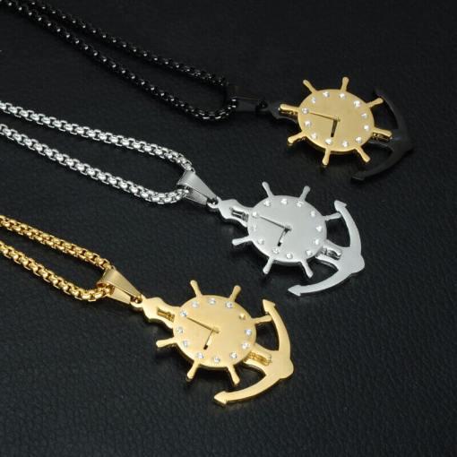 Collier avec pendentif Horloge Gouvernail 3 couleurs