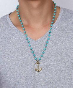 Collier en perles de pierres bleues motif Ancre