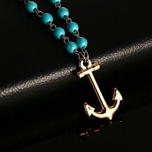 collier perles pierres bleues motif ancre
